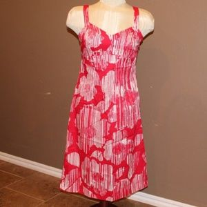 New York and Company   Red and White Floral Dress